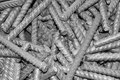 Threaded metal rod, close up Stock Images