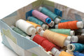 Threads  different colors  in the old box Royalty Free Stock Photo