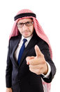 Threatening arab man in specs isolated on white Royalty Free Stock Photography