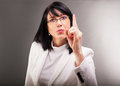 Threats business woman is threatening someone Royalty Free Stock Photo