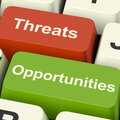 Threats And Opportunities Computer Keys Showing Business Risks O Royalty Free Stock Photo