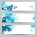 Three abstract artistic headers with blue splats banners paint Royalty Free Stock Photography