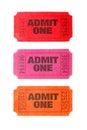 Three Admit One tickets Royalty Free Stock Photo