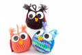 Three adorable handmade owls cute handcrafted crocheted for decoration Royalty Free Stock Image