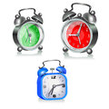 Three alarms different clock on a white background vector Stock Photography