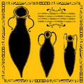 Three antic amphorae woodcut Royalty Free Stock Photography