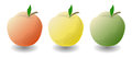 Three apples on a white background.