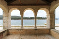 Three arch balcony with adriatic sea view Royalty Free Stock Images