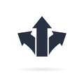 Three arrows symbol pointing in different directions. Choice icon, the way concept. Vector icon