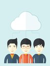 Three asian men under the cloud a happy successful business people group standing a contemporary style with pastel palette soft Royalty Free Stock Image