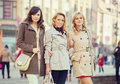 Three attractive ladies during spring day women Royalty Free Stock Images
