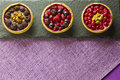 Three autumn fruits cakes