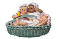 Three Baby in Basket Royalty Free Stock Photography