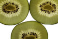 Three back lit slices of golden kiwi isolated on a white background Stock Images