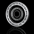 Three ball bearings with different angles on a black background reflection Stock Photography
