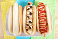 Three banana sandwiches on hot dog buns Royalty Free Stock Photo