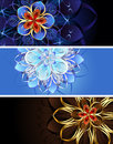 Three banners with abstract flowers Royalty Free Stock Photo