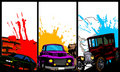 Three banners with cars. Royalty Free Stock Image