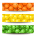 Three banners with citrus fruits set of web x px oranges lemons and limes Royalty Free Stock Photos