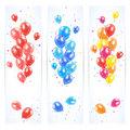 Three banners with colorful balloons Royalty Free Stock Photo