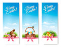 Three banners with Easter backgrounds. Eggs in baskets