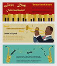Three banners for the Jazz International Day with saxophones, piano and the musician pkaying the saxophone