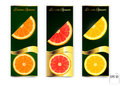 Three banners with oranges and lemon on a white background.
