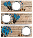Three beach holidays banners n set of with metal empty porthole seashells flippers and snorkel diving on wooden floor with sand Stock Photography