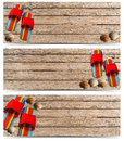 Three beach holidays banners n set of with seashells and colored sandals on wooden floor with sand Royalty Free Stock Photos