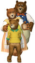 Three Bears Family Illustration Isolated