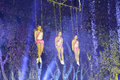 Three beautiful acrobatics actress swing of xiamen lingling circus amoy city china Stock Images