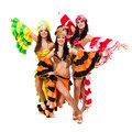 Three beautiful carnival dancers posing Stock Images