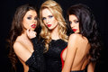 Three beautiful enticing glamorous woman women posing together on a dark background looking seductively at the camera with sultry Stock Photos