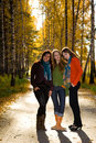 Three beautiful girls in the park Stock Images