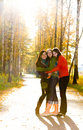 Three beautiful girls standing on the path in park Royalty Free Stock Photo