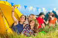 Three beautiful young woman in tent taking selfie Royalty Free Stock Photo