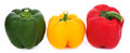Three bell peppers isolated on white background Royalty Free Stock Photo
