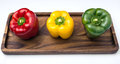 Three Bell Peppers, red, yellow and green Royalty Free Stock Photo