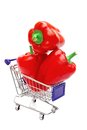 Three Bell Peppers in shopping  cart Royalty Free Stock Photo