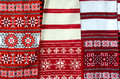 Three belorussian woven towel with multicolored geometric patter bright pattern Royalty Free Stock Image