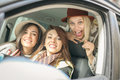 Three best friends riding in the car. Royalty Free Stock Photo