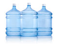 Three big bottles of water isolated on white background Royalty Free Stock Photo