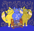 Three big fairy cats lull a small child. Lullaby background Royalty Free Stock Photo
