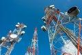 Three big radio mast with blue sky Royalty Free Stock Photo