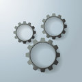 Three black gears on the grey background eps file Royalty Free Stock Images