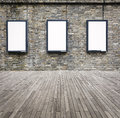 Three blank advertising light box on the wall Royalty Free Stock Photo