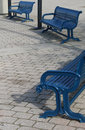 Three Blue Benches Royalty Free Stock Photo