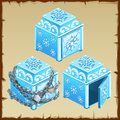 Three blue chest of ice, open and closed Royalty Free Stock Photo