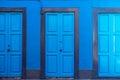 Three blue doors Royalty Free Stock Photo