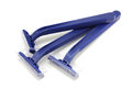 Three blue razors Royalty Free Stock Photo